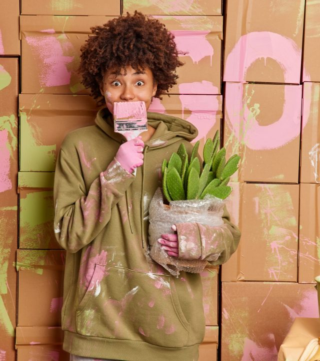 Home repair and makeover concept. Curly haired woman in sweatshirt covers mouth with paint brush does repair at apartment moves in new house or apartment holds potted cactus poses in messy room